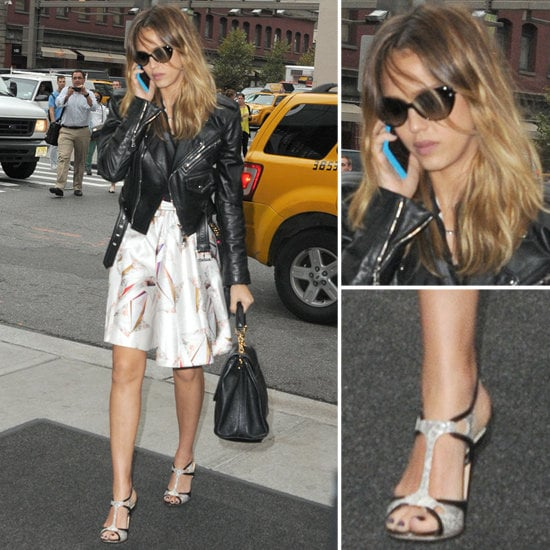 Make like Jessica Alba, and pair Fall's biker jacket trend with a soft floaty skirt.
