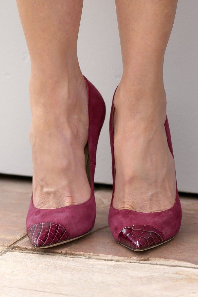 Nicole Kidman wore magenta capped Jimmy Choo pumps.
