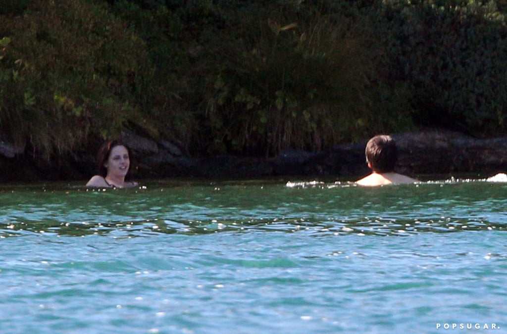 Kristen Stewart and Juliette Binoche swam around on set.