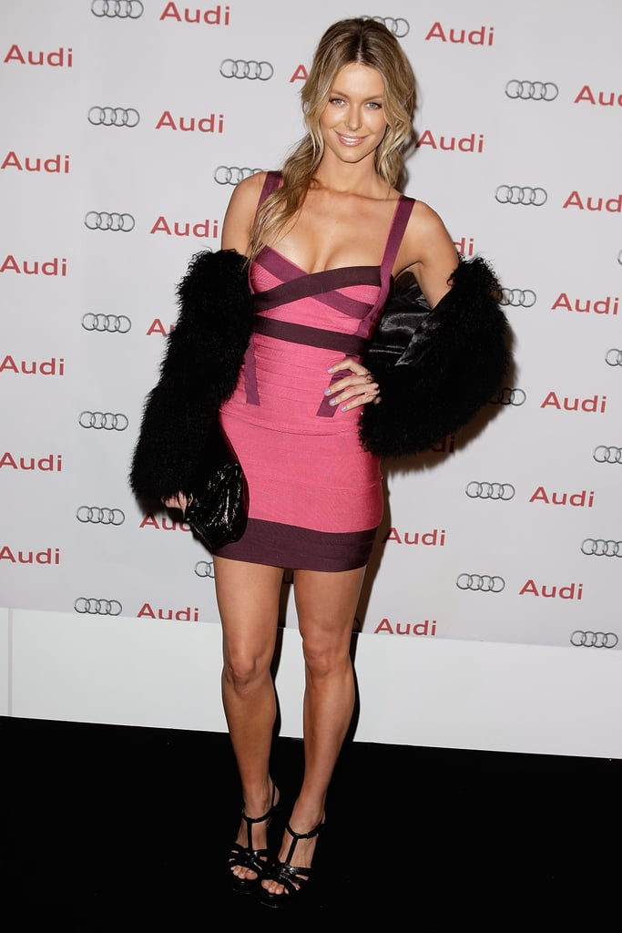 Jen wore a tight bandage dress to the Audi LightHouse launch in Aug. 2009.