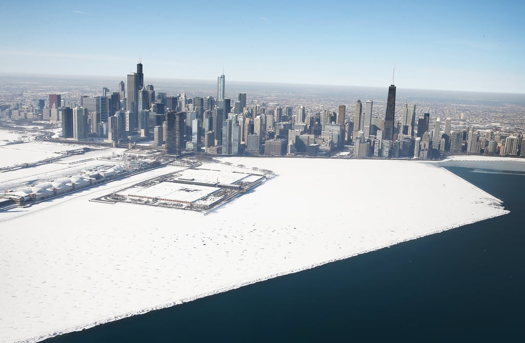 Freezing temperatures have left the Chicago shoreline covered in snow and ice.