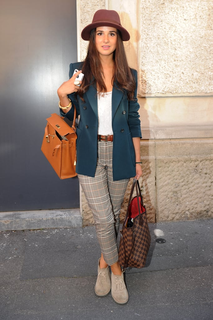 A cute menswear-inspired look — we adore the plaid pants.