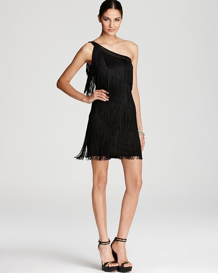 Aqua One-Shoulder Fringed Dress