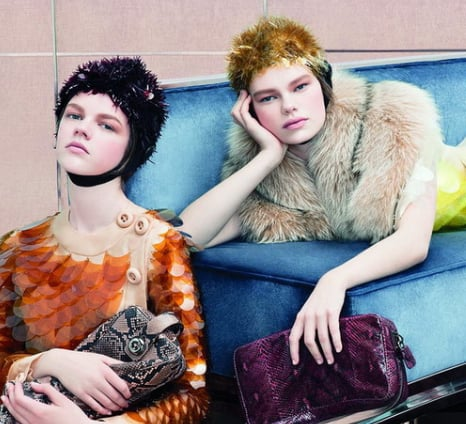Prada Fall 2011 Ad Campaign Shot by Steven Meisel, Starring Frida Gustavsson and Ondria Hardin