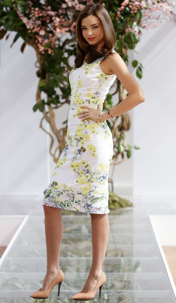 Miranda Kerr blossomed in this floral Erdem dress and her favourite Lanvin heels.