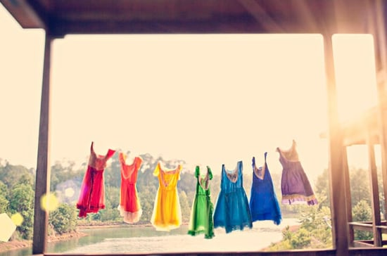 Rainbow-Colored Bridesmaid Dresses