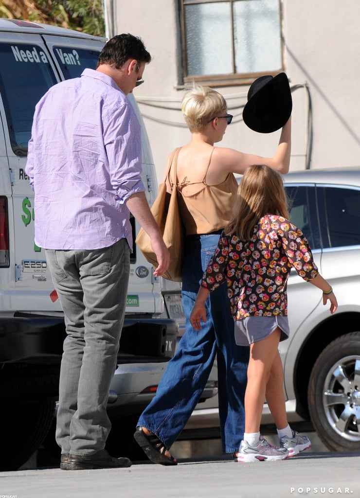 Michelle Williams, Jason Segel, and Matilda Ledger walked to their car in LA.