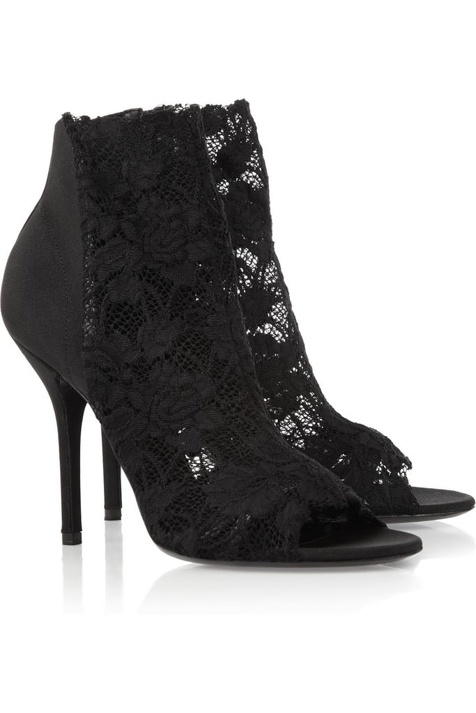 Dolce & Gabbana's Leather-Trimmed Lace Ankle Boots ($745) would give minidresses, trousers, dresses, and you name it a seriously sexy finish.