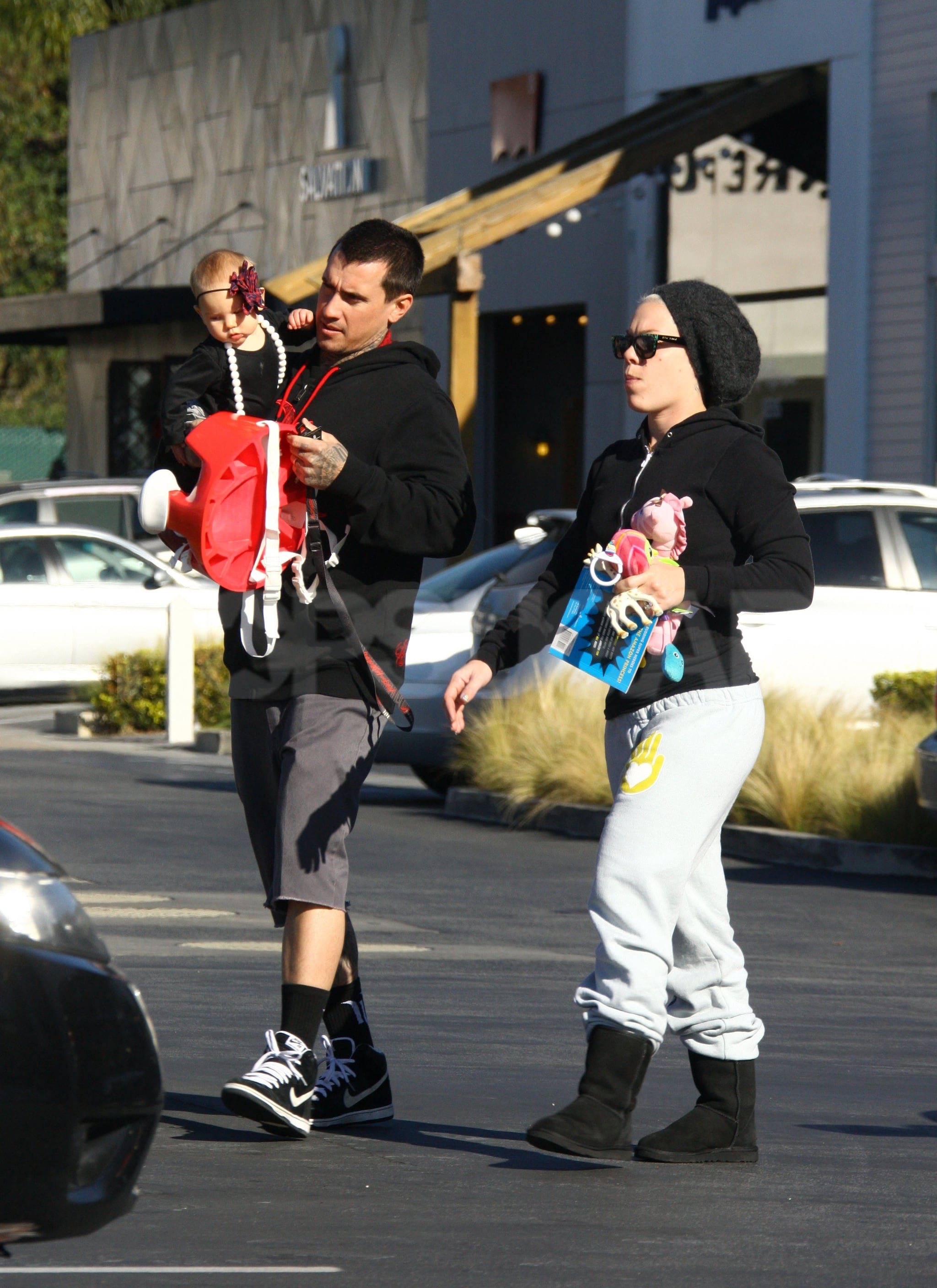 Baby Willow spent quality time with Pink and Carey Hart the day after Christmas.