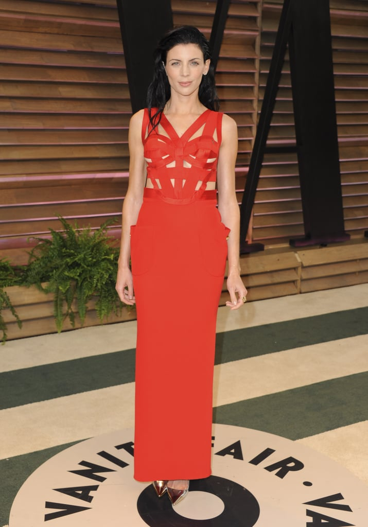 Liberty Ross wore a sexy red dress.