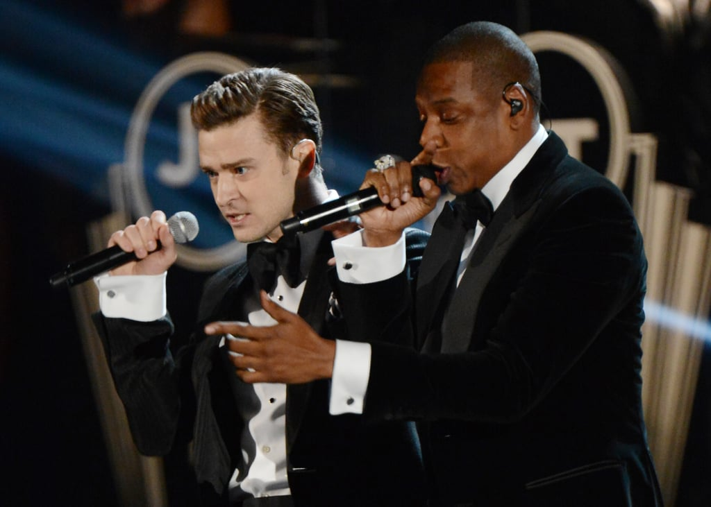 "Justin Timberlake returned to the Grammys stage when he performed ""Suit & Tie"" with Jay-Z."