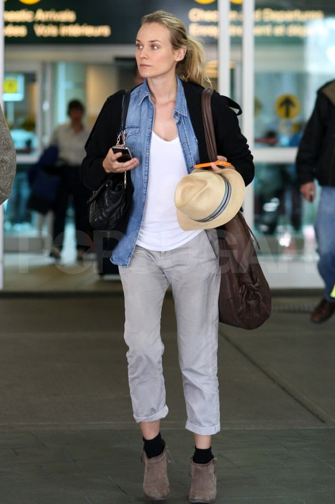Diane Kruger's casual traveling outfit.