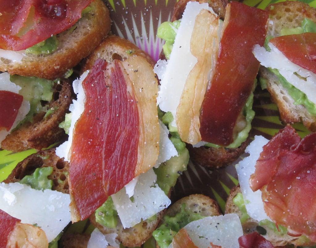 Crisped Prosciutto and Avocado Crostini