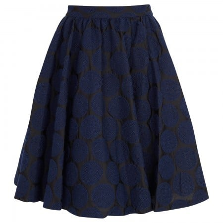 alice and olivia Julie polka dot embroidered cotton skirt