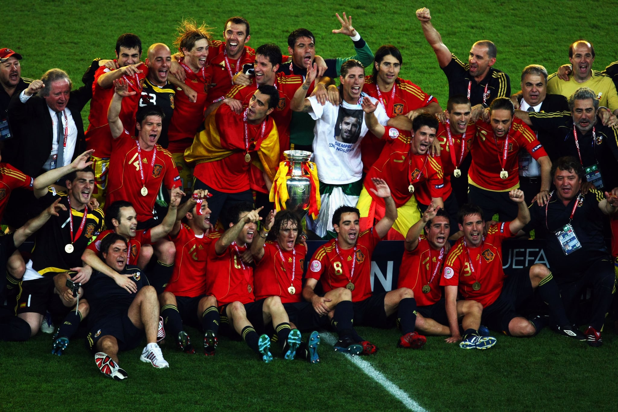 Spanish players pose for a team photograph.
