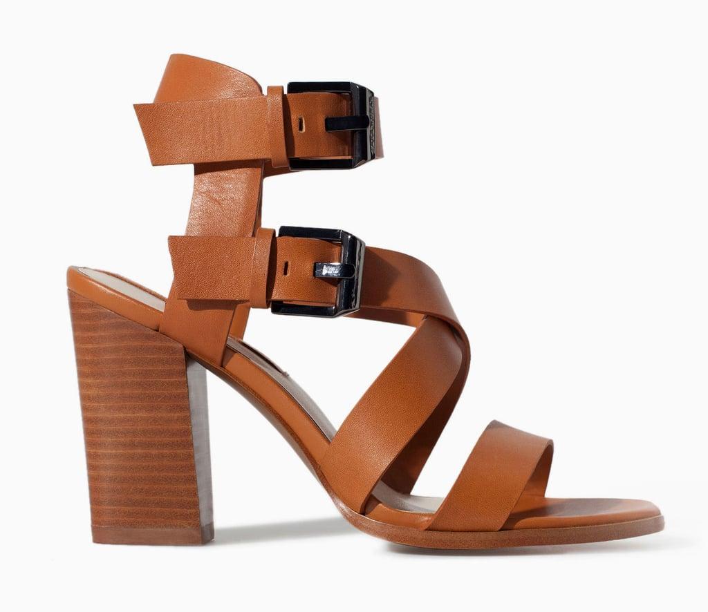 Zara brown leather block-heel sandals ($119)