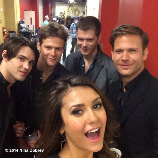 She posted this picture with her Vampire Diaries costars, just to make things more confusing.