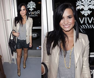 Demi Lovato Wears alice + olivia Metallic Blazer, Metallic Shorts, and Striped Tank