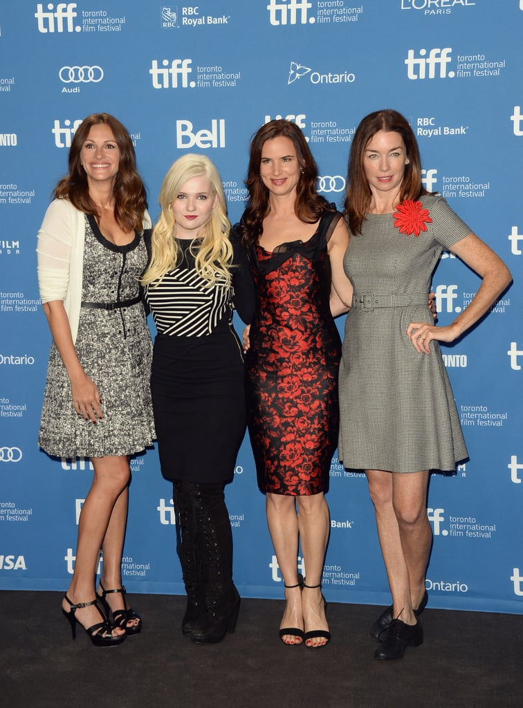At the August: Osage County press conference, Julia Roberts, Abigail Breslin, Juliette Lewis, and Julianne Nicholson showed off their pretty ensembles, which ran the gamut from flared to formfitting.