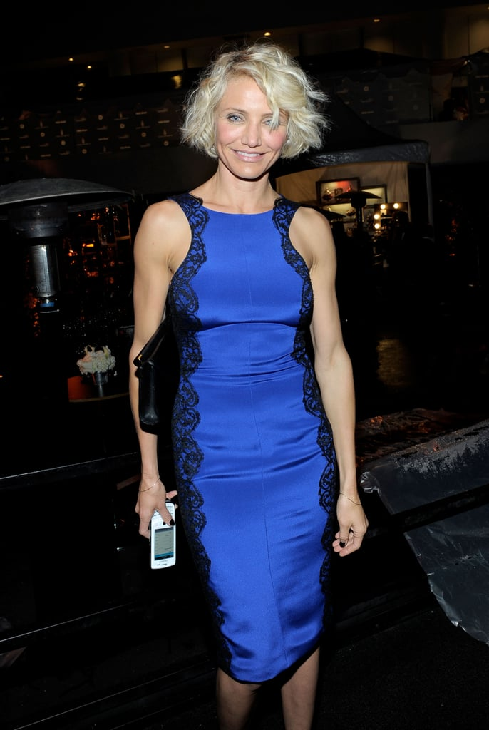 Cameron Diaz walked into the Weinstein Company's Golden Globes after party.