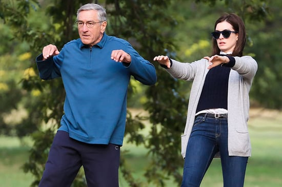 Anne Hathaway Does Tai Chi In A Park With Robert DeNiro