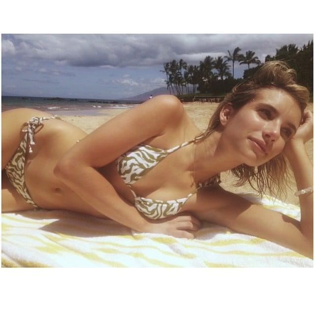 Bikini-Clad Emma Roberts Enjoys a Slice of Paradise