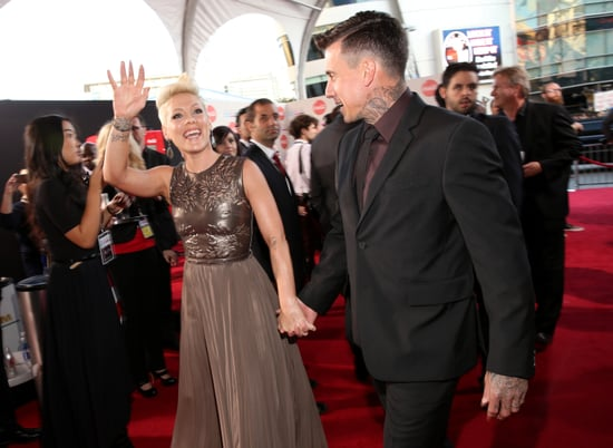 Pink and Carey Hart arrived at the American Music Awards.