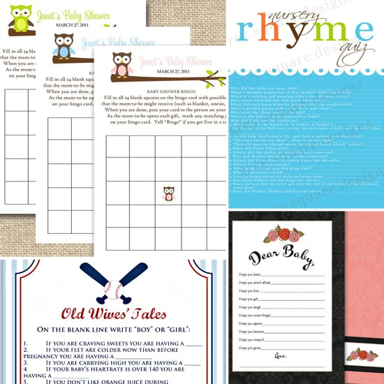Baby Shower Games From Etsy