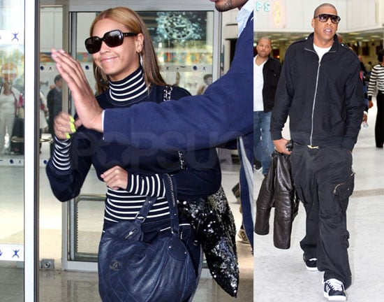 Jay-Z and Beyonce Arrive at Nice Airport