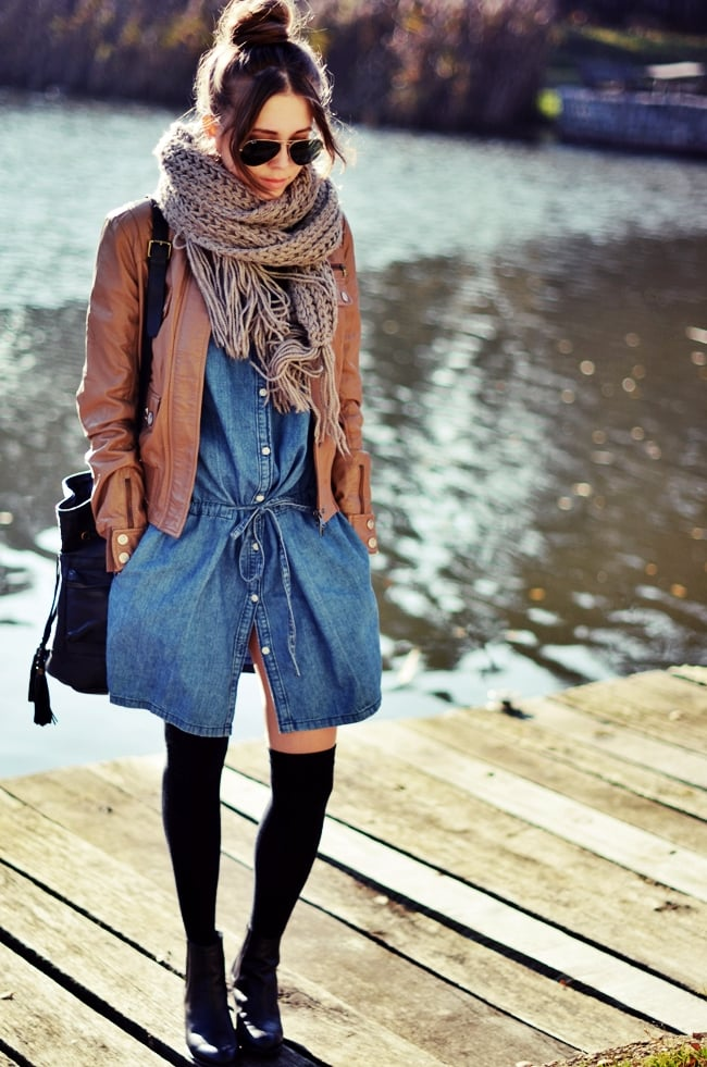 We love how this styler transformed a denim dress with cozy, seasonal add-ons. Source: Lookbook.nu