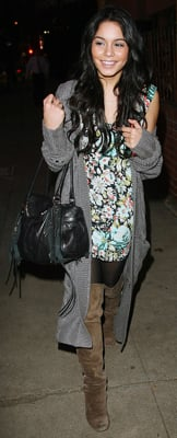 Vanessa Hudgens Wears Floral Dress and Suede Boots