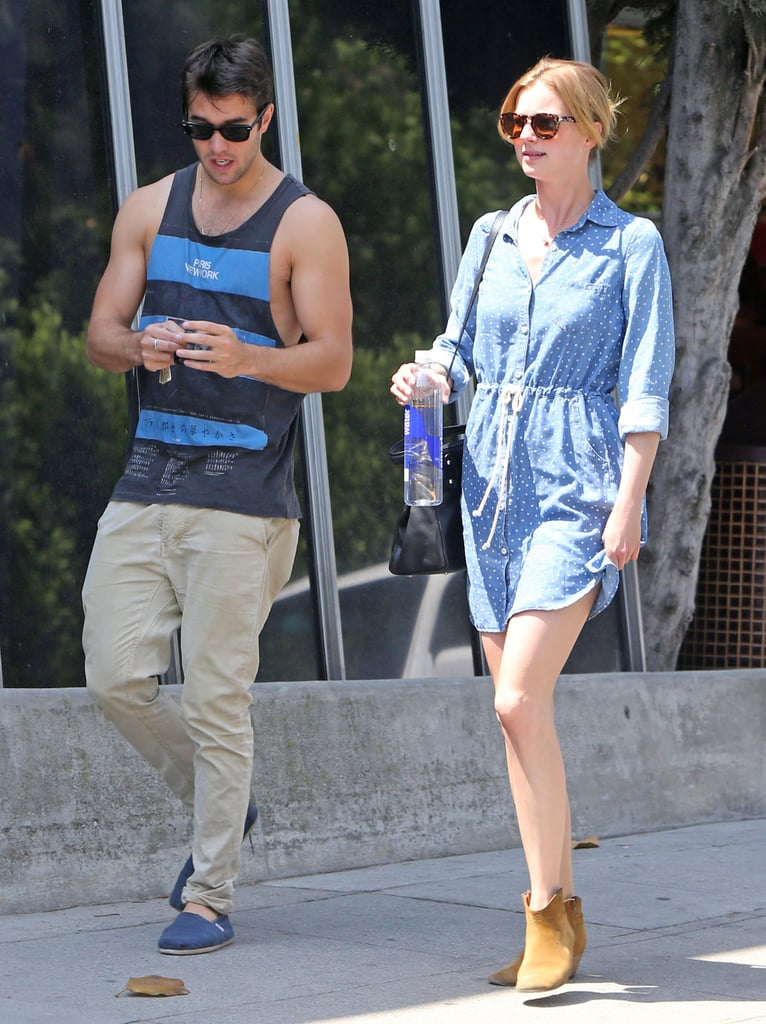 Emily VanCamp's dotted denim Splendid dress and tan suede booties were a perfect and easy-to-re-create match.