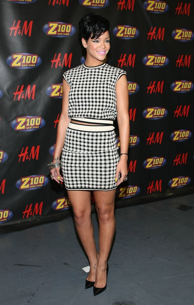 At Z100's 2008 Jingle Ball, Rihanna played the part of vintage vixen in a houndstooth Alaia set and sleek black Christian Louboutin heels.