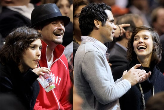 Photos of Jessica Alba, Cash Warren, and Kid Rock at the LA Clippers Game 2010-02-25 15:00:00