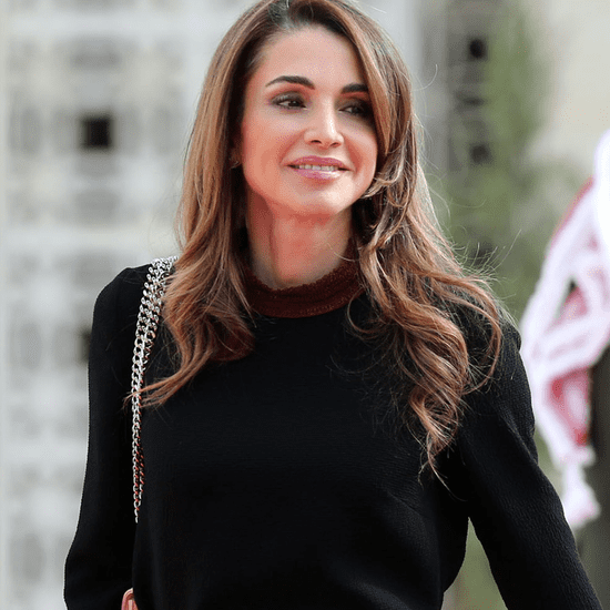 Queen Rania Wearing Colorblock Skirt | November 2015