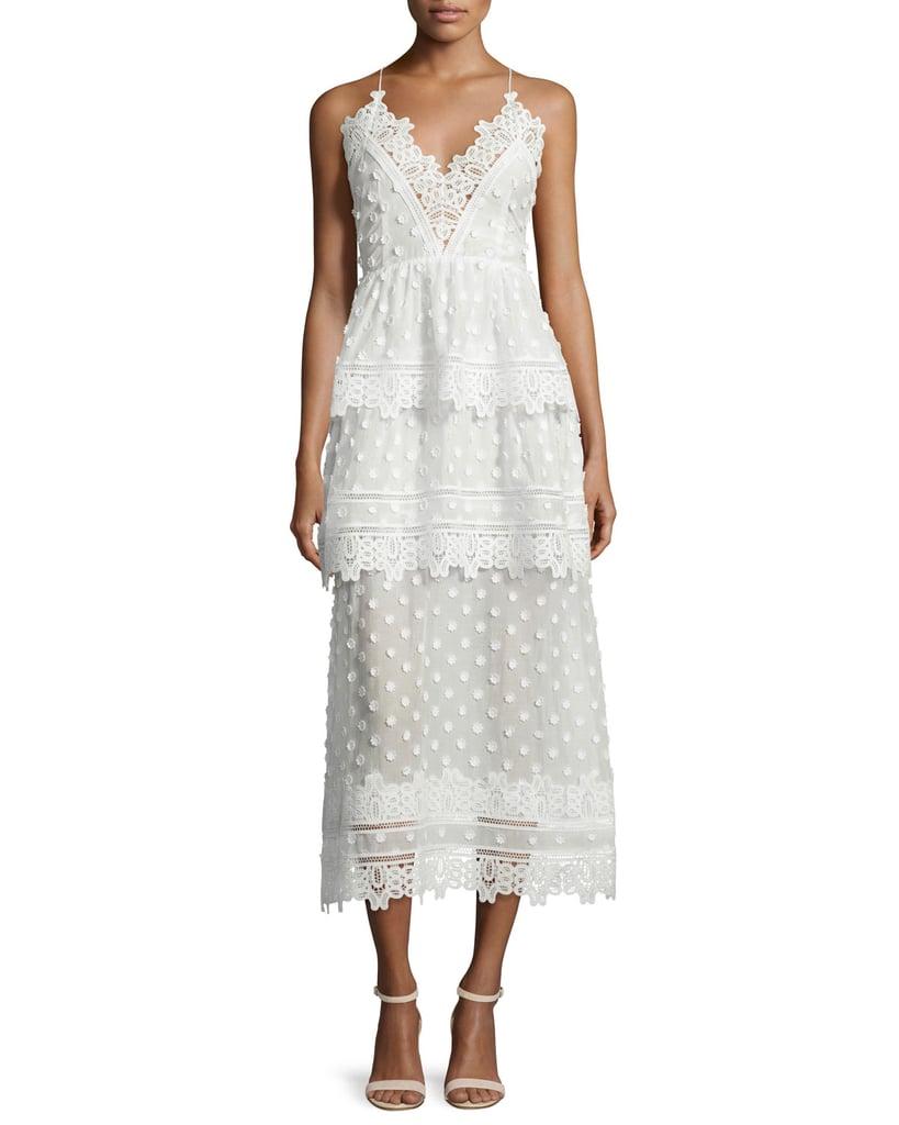 Self-Portrait Ivy Lace-Trim Open-Back Midi Dress ($625)