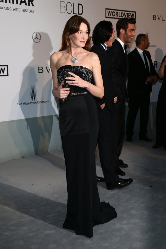 Carla Bruni-Sarkozy smiled for photos.