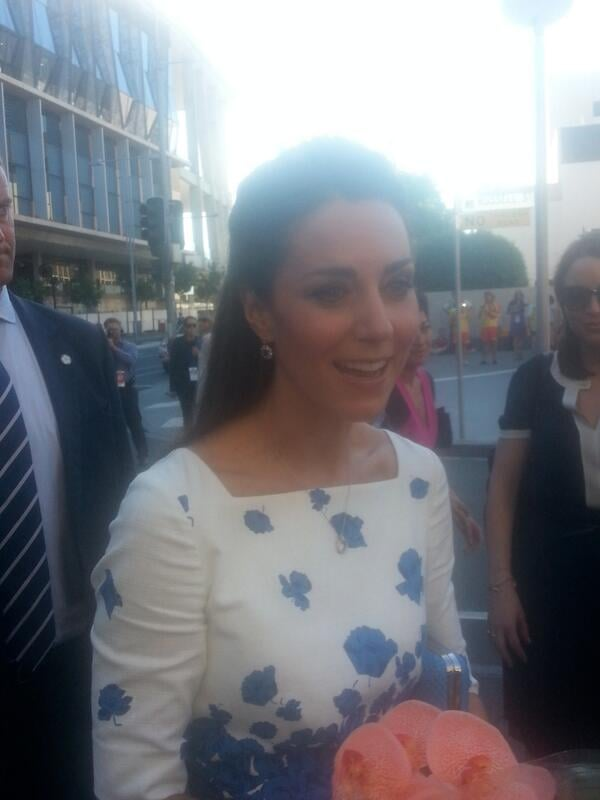 Kate was given flowers by fans in Brisbane. Source: Twitter user auscanucksarah