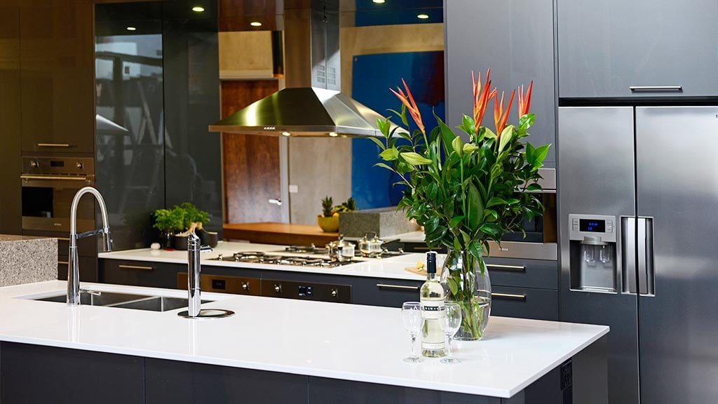 Picture: The twins' outstanding kitchen from Week 5. Source: Channel Nine PS: If you had to live in any of the other apartments, whose would it be and why?  Lysandra: I don't know, maybe the boys or K and K [Kyal and Kara]. I couldn't pick really, between them. PS: Who were you closest to and who didn't you get along with behind the scenes?  Lysandra: We were closest with Kyal and Kara, definitely. We formed a really good relationship with them and Chantelle as well. It's probably the boys we didn't get along with the best.  PS: Are they different to how they come across on TV?  Lysandra: Oh, sometimes I think there's some underlying arrogance there, yeah. PS: You had some issues with Shaynna. . . How are you guys now?  Lysandra: Yeah. No hard feelings, it's water under the bridge. You can't let stuff like that go on and on, we've said our piece and we're done with it.  PS: You don't have much contact with the judges, do you?  Lysandra: Not during filming of the show but you know there are events and everything that we go to and now that — not that we're in the industry — but we certainly go to quite a few events now where we bump into them. PS: Is it awkward?  Lysandra: Yeah. PS: Are there any times you watch back and feel awkward or surprised about anything?  Lysandra: Sometimes you watch the judges and you think of all the inconsistencies but no, not really — not compared to the last season!  PS: Yeah, I spoke to Alisa last time and she filled me in on a bit of that stuff with Bec and George. . .  Lysandra: Yep, that was pretty full on.