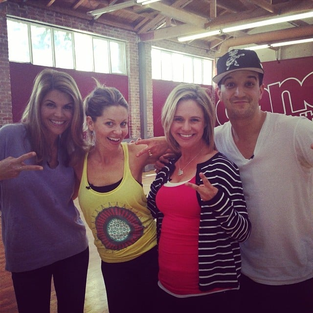"Candace: ""Look who stopped by rehearsal! @loriloughlin@andreabarber @markballas #dwts @dancingabc"""