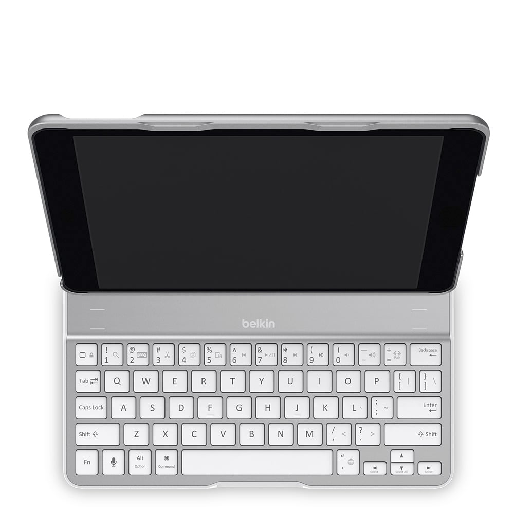 Re-create the desktop experience (as much as possible!) with Belkin's Qode Ultimate Keyboard Case for iPad Air ($130). Made of airplane-grade aluminum, the keyboard automatically turns off when not in use and can be folded into the case when not needed. The keyboard's rechargeable battery is promised to have 264 hours of active life.