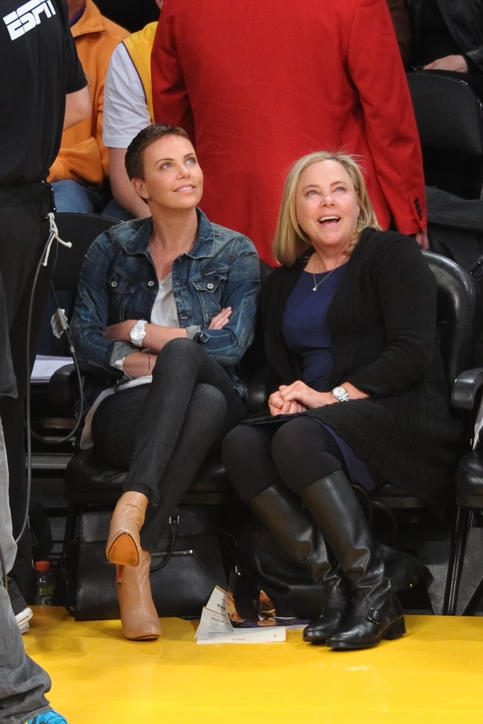 Charlize Theron sat courtside with her mom, Gerda, as the LA Lakers played the Oklahoma City Thunder in January.