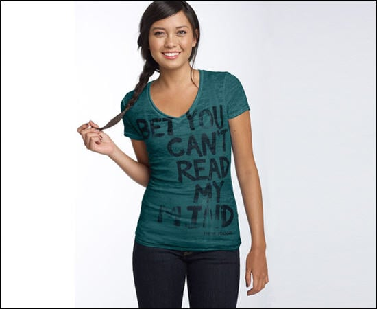 'Bet You Can't Read My Mind' Fitted V-Neck T-Shirt, $30