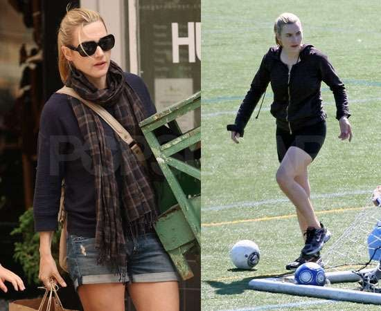Pictures of Kate Winslet Playing Football and Shopping in NYC, Preview of Mildred Pierce, Contagion in Chicago With Louis Dowler