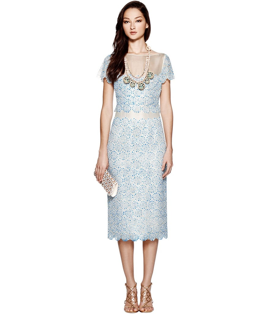Prim and proper, Tory Burch's lace Whitney dress ($650) shows a little skin with sheer inserts.