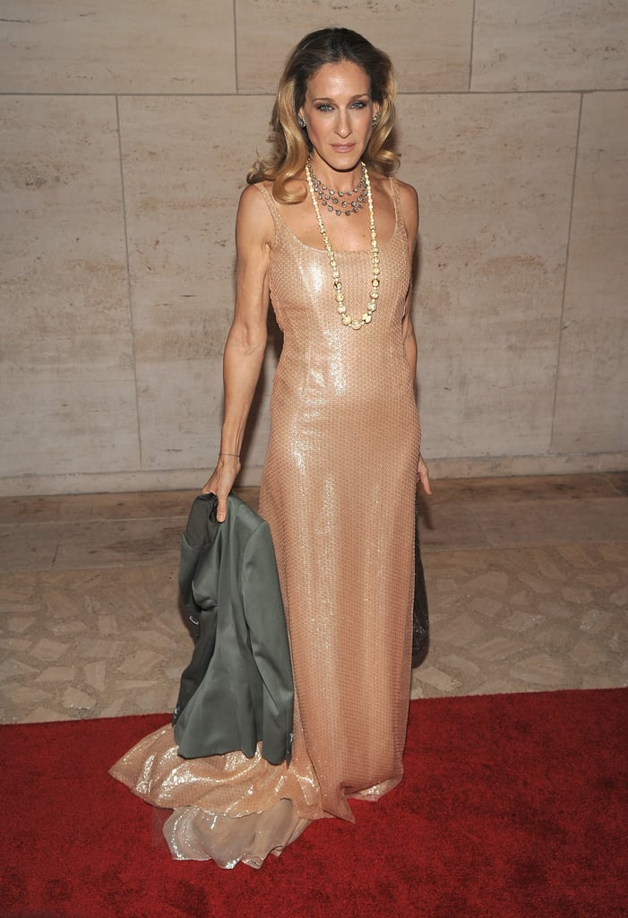Carrie, we mean SJP, looked stunning in a glistening Halston Heritage, layers of baubles, and perfect curls at the 2010 New York City Ballet Fall Gala.