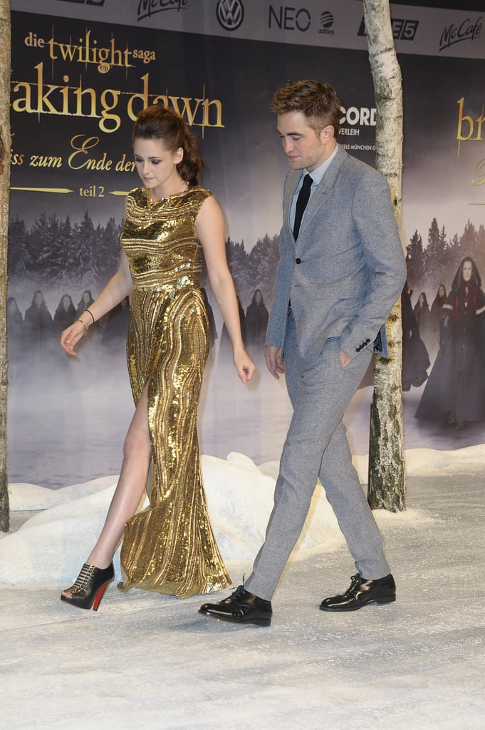 Kristen flashed a little let in her Elie Saab gown as she made her way down the carpet at the film's Berlin premiere.