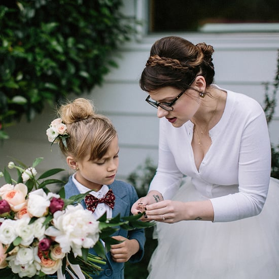 Little Girl Is Ring Bearer in Mom's Wedding