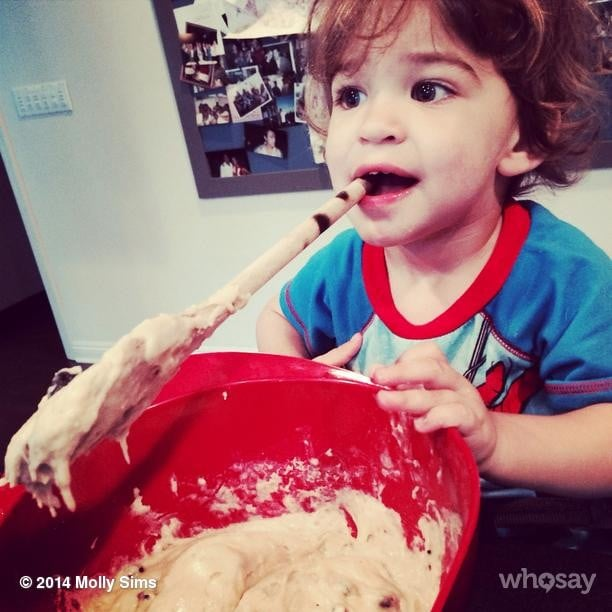 Brooks Stuber showed off his interesting way of mixing muffins. Source: Instagram user mollybsims