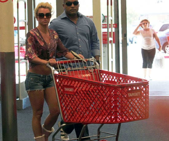 Slide Photo of Britney Spears Pushing a Cart at Target